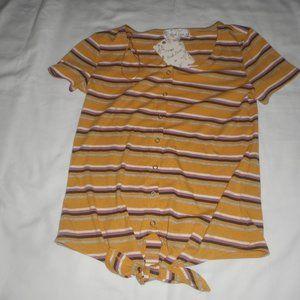 Pink Rose Mustard Stripe Shirt NWT